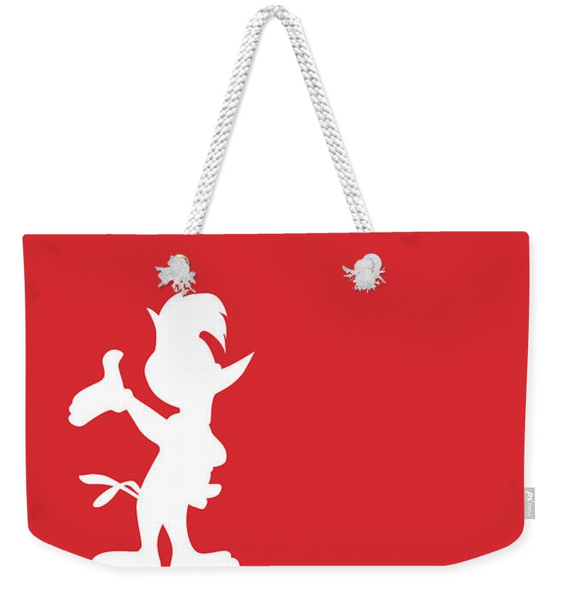 Looney Weekender Tote Bag featuring the digital art No12 My Minimal Color Code poster Woody Woodpecker by Chungkong Art