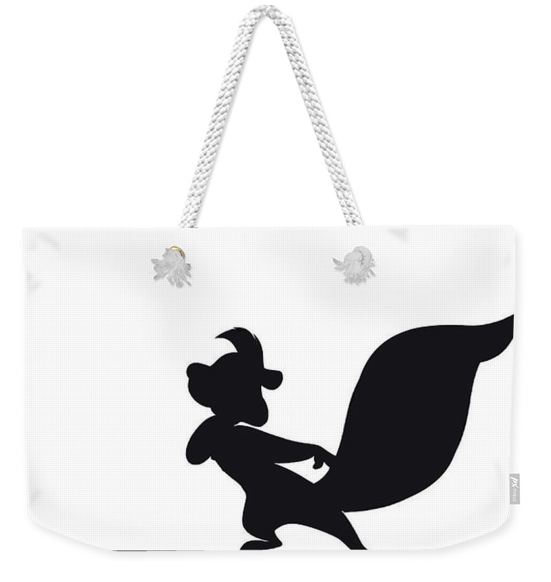 Looney Weekender Tote Bag featuring the digital art No13 My Minimal Color Code poster Pepe Le Pew by Chungkong Art