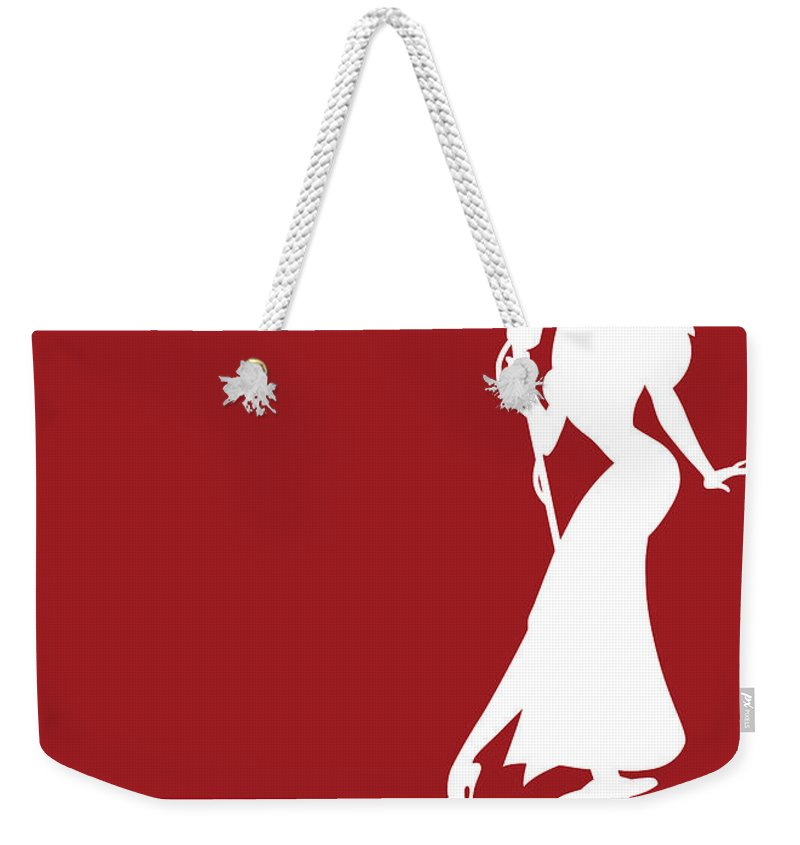Looney Weekender Tote Bag featuring the digital art No14 My Minimal Color Code poster Jessica Rabbit by Chungkong Art