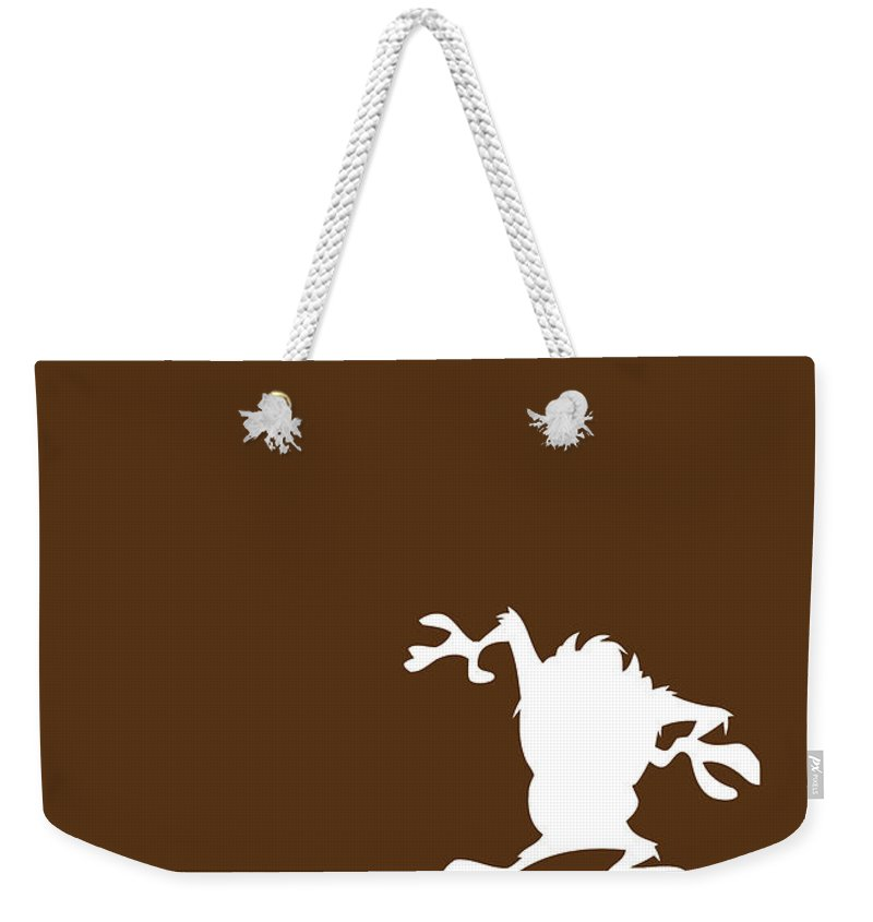 Looney Weekender Tote Bag featuring the digital art No16 My Minimal Color Code poster tasmanian devil by Chungkong Art