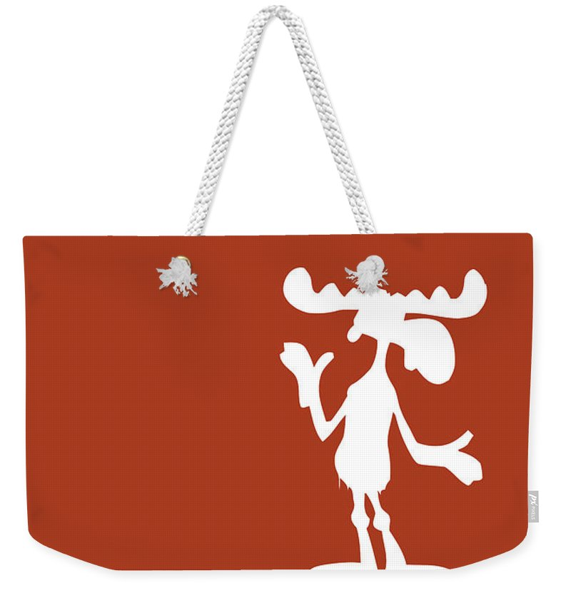 Looney Weekender Tote Bag featuring the digital art No19 My Minimal Color Code poster Bullwinkle by Chungkong Art