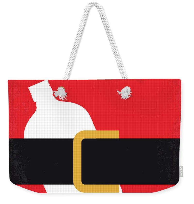 Bad Weekender Tote Bag featuring the digital art No702 My Bad Santa Minimal Movie Poster by Chungkong Art