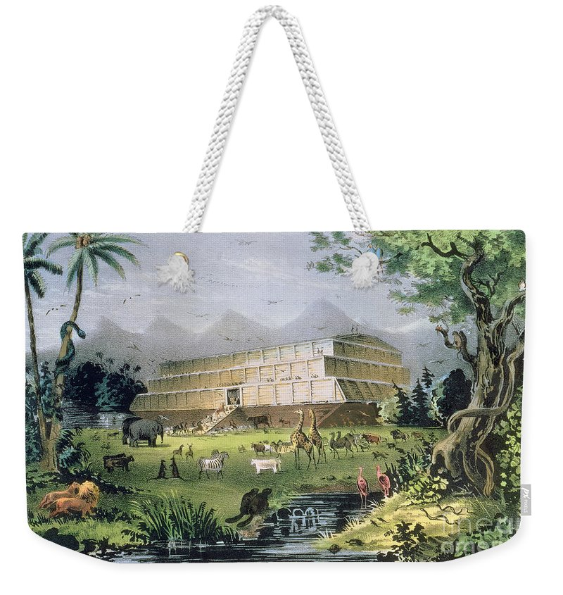 Noah's Ark Weekender Tote Bag featuring the painting Noahs Ark by Currier and Ives