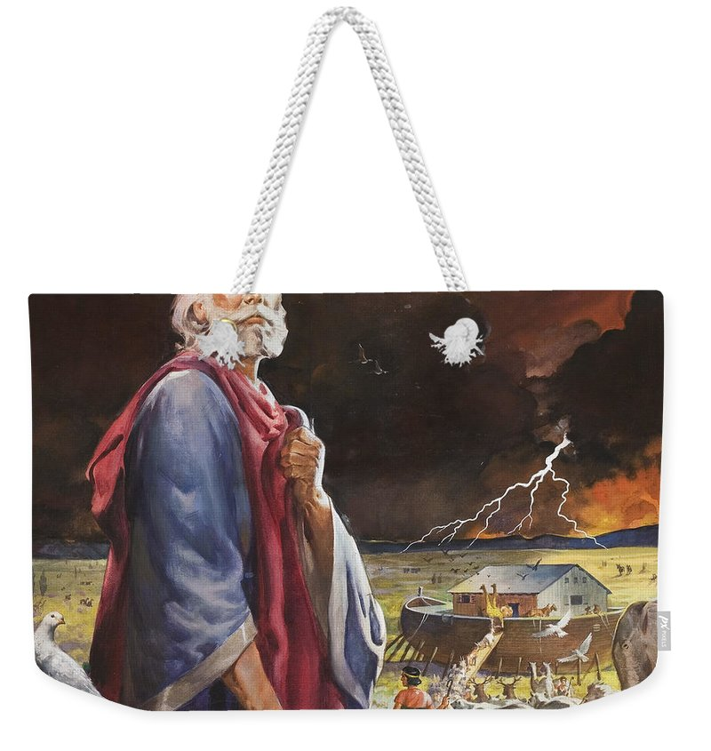Deluge; Genesis; Flood; Rescue; Animal; Two By Two; Storm; Elephant; Giraffe; Dove; Boat; Land; Fork Lightning; Cloud; Scoll; Chicken; Rhino; Bird; Pair; Great Flood; Bible; Noah; Children's Illustration; Biblical; Scroll; Male Weekender Tote Bag featuring the painting Noah's Ark by James Edwin McConnell
