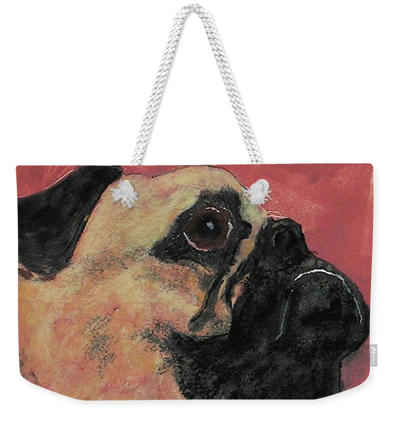 Pug Weekender Tote Bag featuring the mixed media Noble Intentions by Cori Solomon