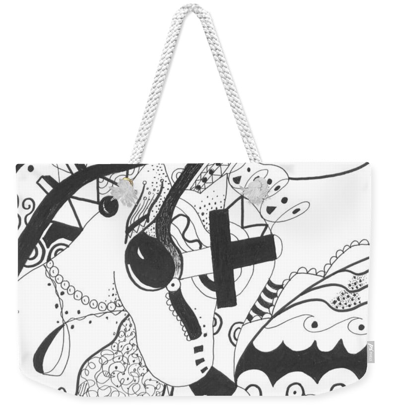 Animal Weekender Tote Bag featuring the drawing Nobody Really Knows by Helena Tiainen