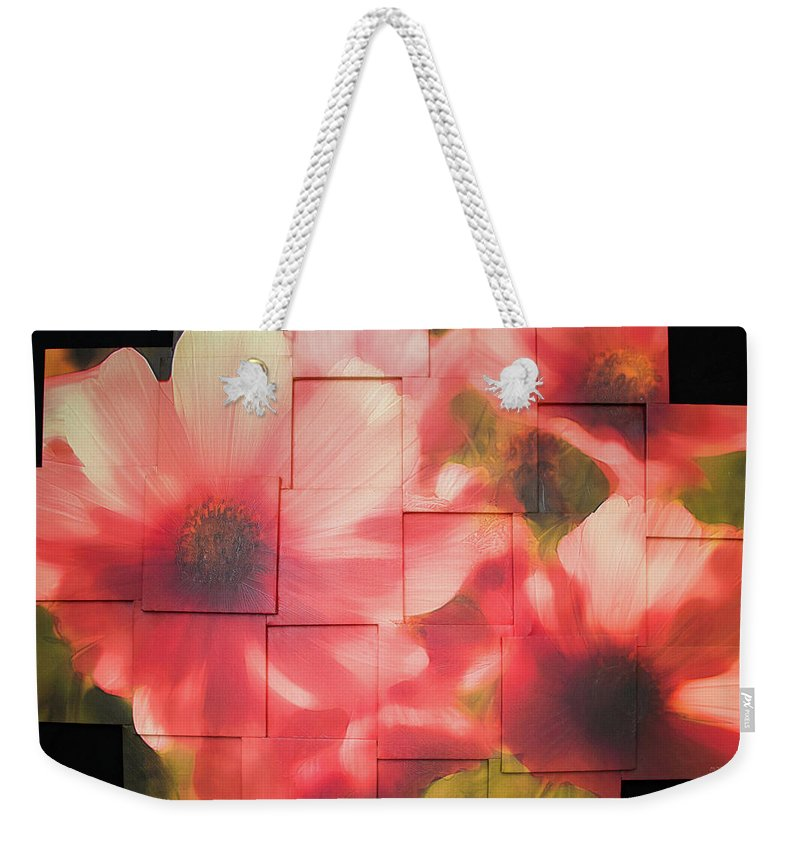 Flower Weekender Tote Bag featuring the sculpture Nocturnal Pinks Photo Sculpture by Michael Bessler