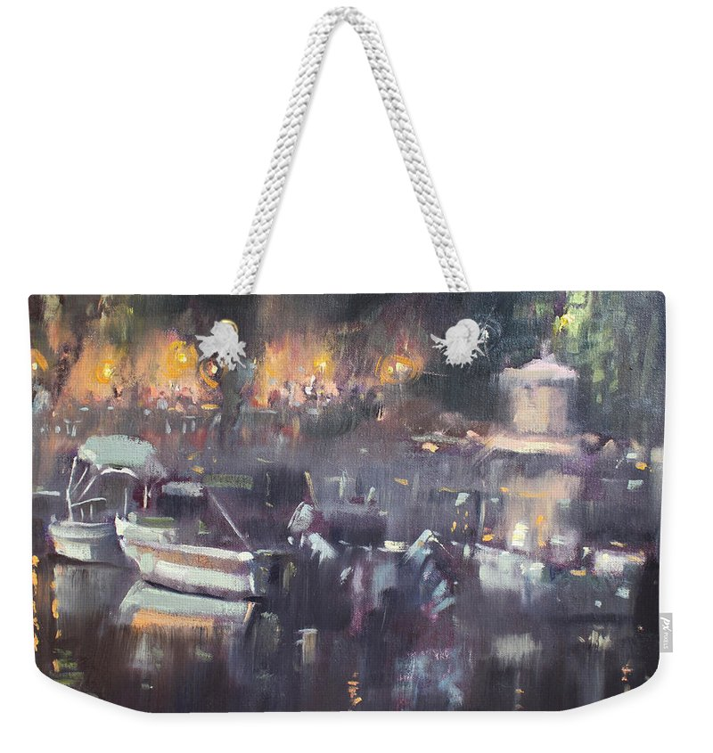 Nocturne Weekender Tote Bag featuring the painting Nocturne At Dilesi Beach by Ylli Haruni