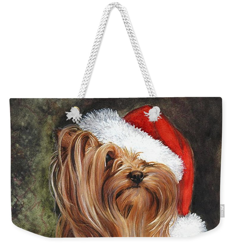 Santa Weekender Tote Bag featuring the mixed media Noel by Barbara Keith
