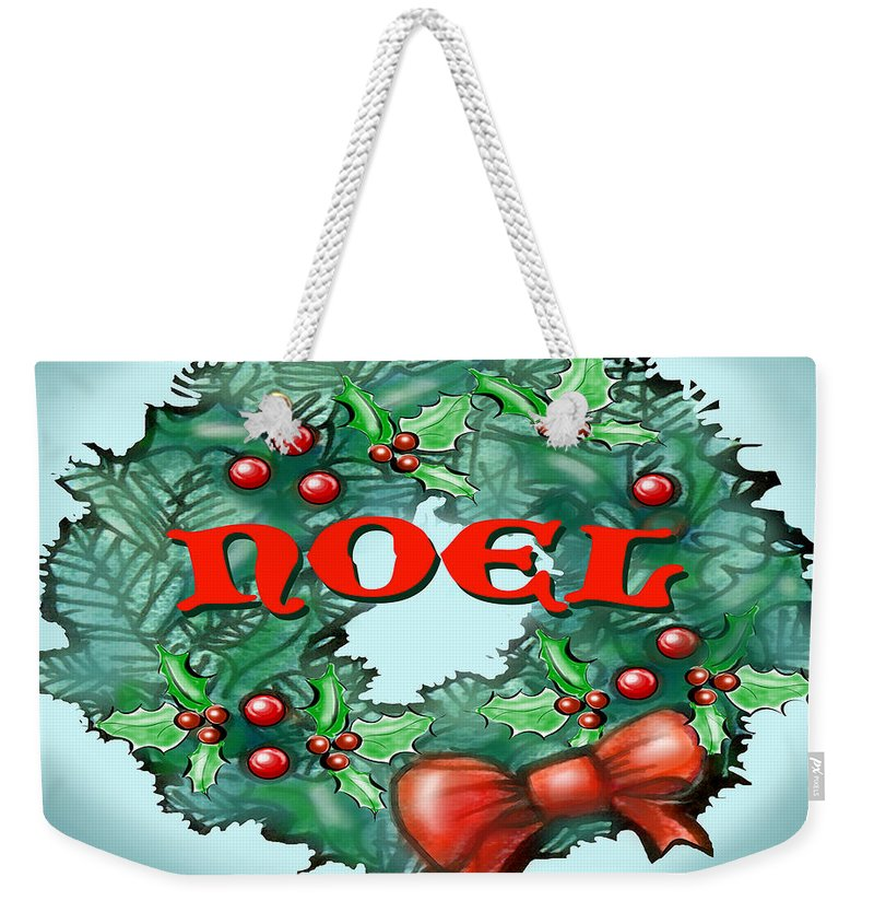 Noel Weekender Tote Bag featuring the greeting card Noel by Kevin Middleton