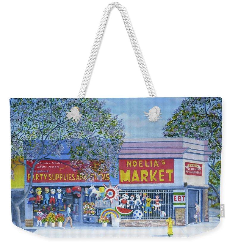 Noelia's Market Weekender Tote Bag featuring the painting Noelia's Market by Miguel A Chavez