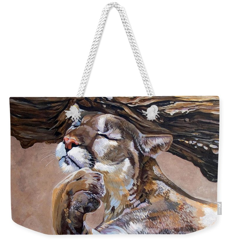 Catamount Weekender Tote Bag featuring the painting Nonchalant by J W Baker