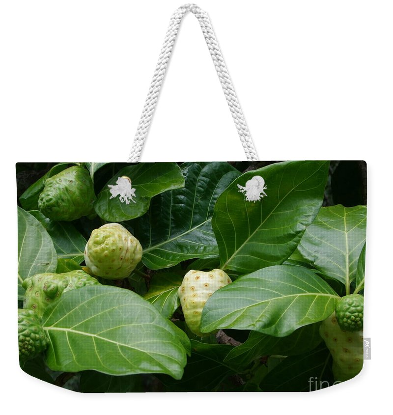 Green Weekender Tote Bag featuring the photograph Noni by Mary Deal