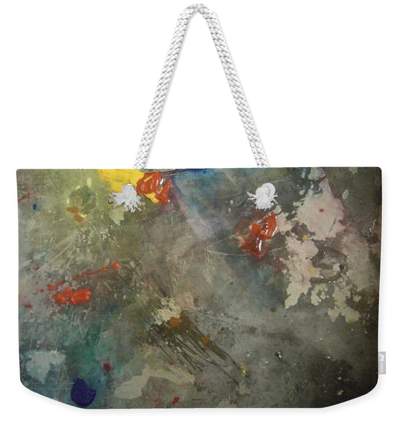 Yellows Blues Weekender Tote Bag featuring the painting Nonrepresentational Color Study by Robin Miller-Bookhout