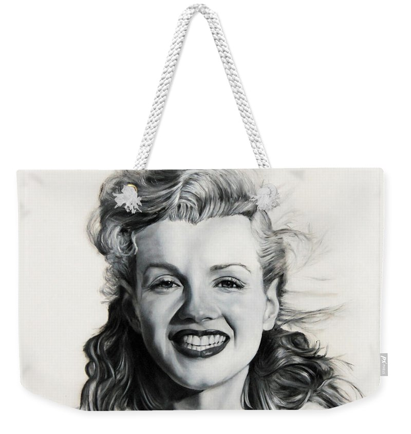 Norma Jean Weekender Tote Bag featuring the painting Norma Jean Painting by Jean Amodt