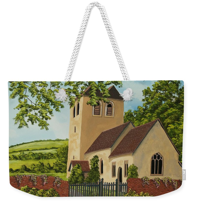 Church Weekender Tote Bag featuring the painting Norman Church In Fingest by Charlotte Blanchard