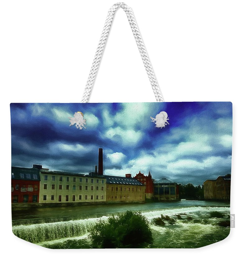 Norrkoping Weekender Tote Bag featuring the photograph Norrkoping Waterfall by Ramon Martinez