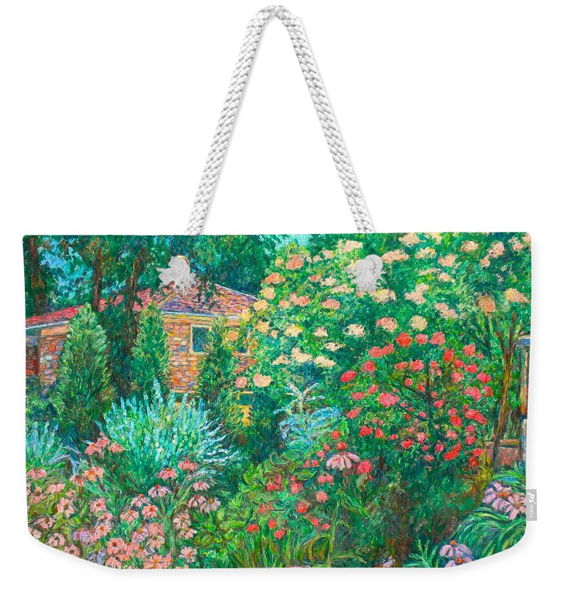 Garden Weekender Tote Bag featuring the painting North Albemarle In Mclean Va by Kendall Kessler