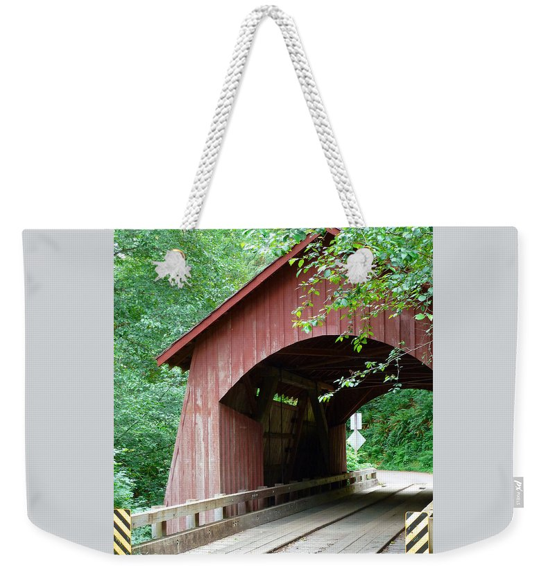 North Fork Yachats Bridge 1 Weekender Tote Bag featuring the photograph North Fork Yachats Bridge 2 by Methune Hively