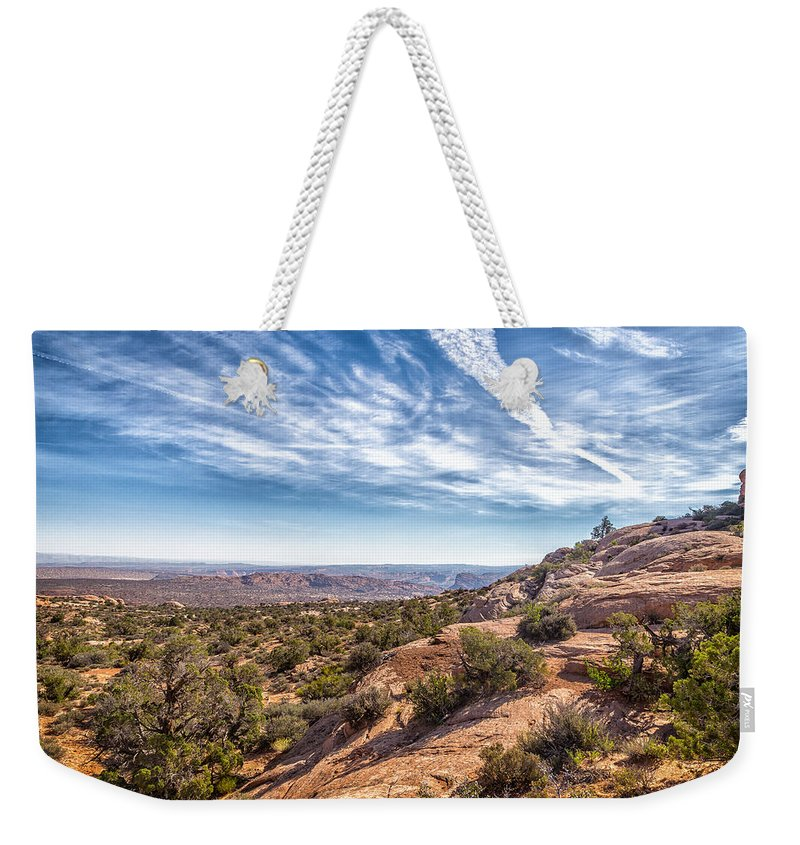 Sky Weekender Tote Bag featuring the photograph North Of Moab by Gestalt Imagery