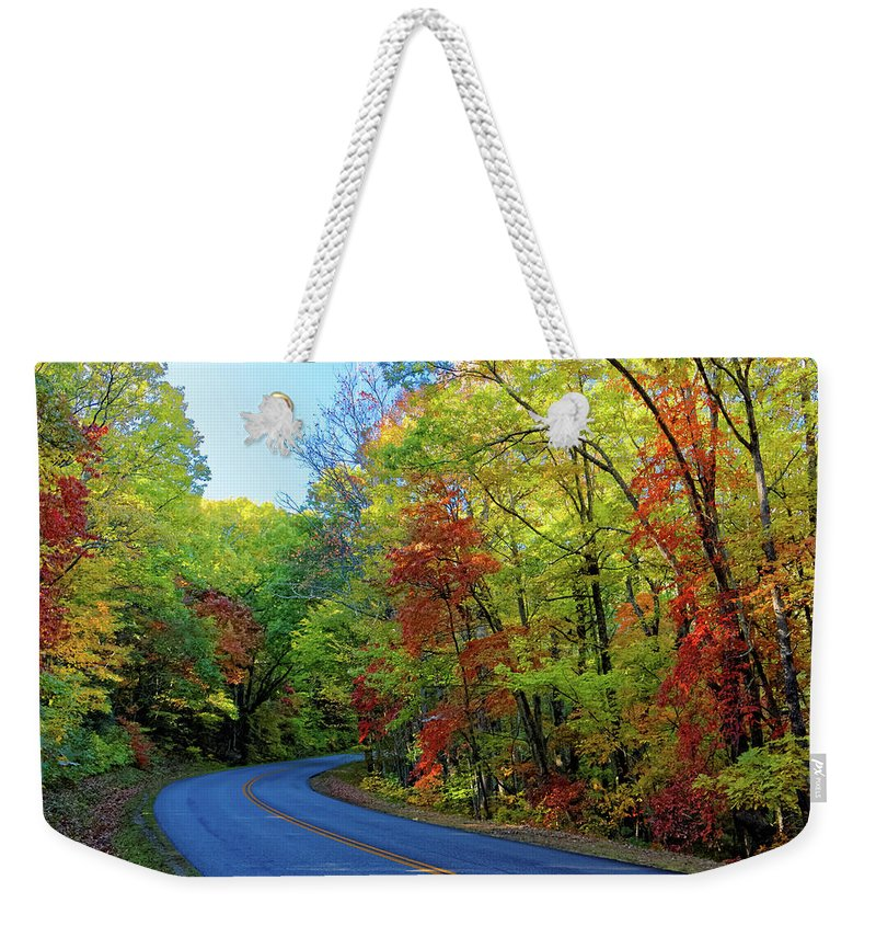 Landscape Weekender Tote Bag featuring the photograph North Of The Folk Art Center In Fall by David Rowe