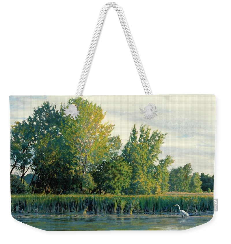 Great Egret Weekender Tote Bag featuring the drawing North of the Grade-Great Egret by Bruce Morrison