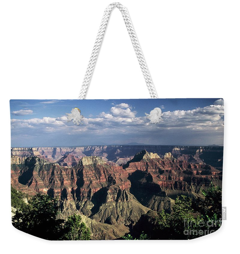 Grand Canyon; National Parks Weekender Tote Bag featuring the photograph North Rim by Kathy McClure