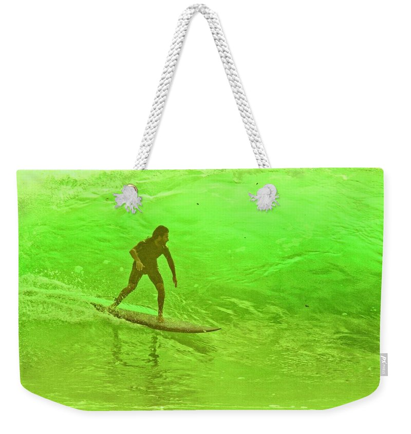 Surf Weekender Tote Bag featuring the photograph North Shore Green by Mike Judice
