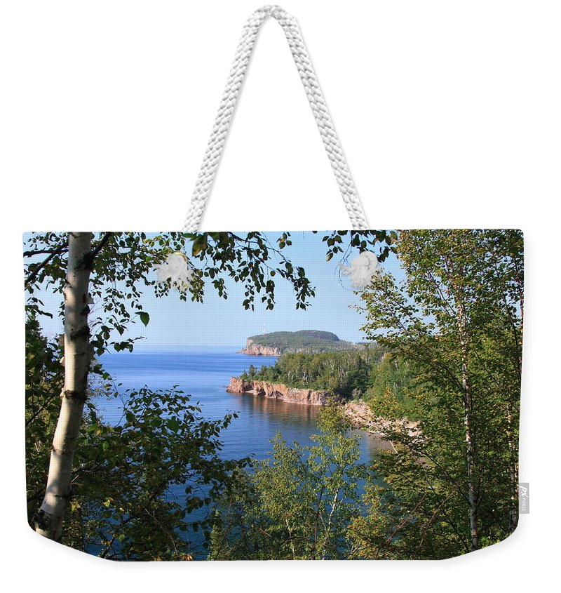 Lake Blue Water Shore Lake Superior Shoreline Minneosta Nature Park Weekender Tote Bag featuring the photograph North Shore Lake Superior by Shari Jardina