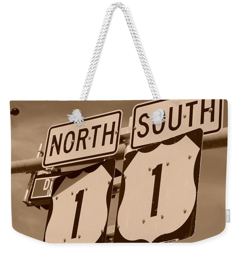 Sepia Weekender Tote Bag featuring the photograph North South 1 by Rob Hans