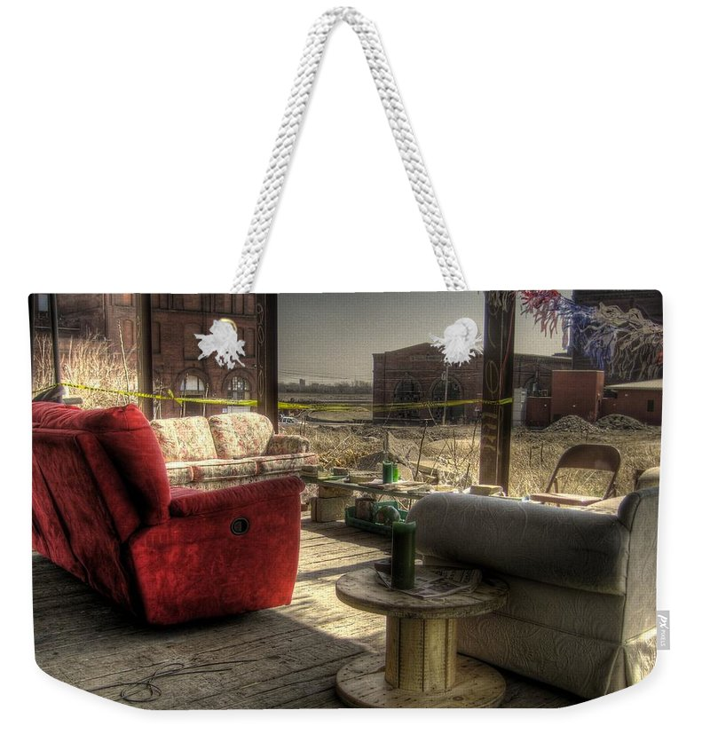 Hdr Weekender Tote Bag featuring the photograph North St. Louis Porch by Jane Linders