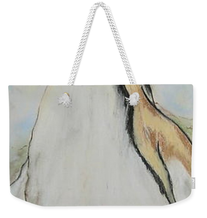 Penguin Weekender Tote Bag featuring the drawing Northern Bliss by Cori Solomon