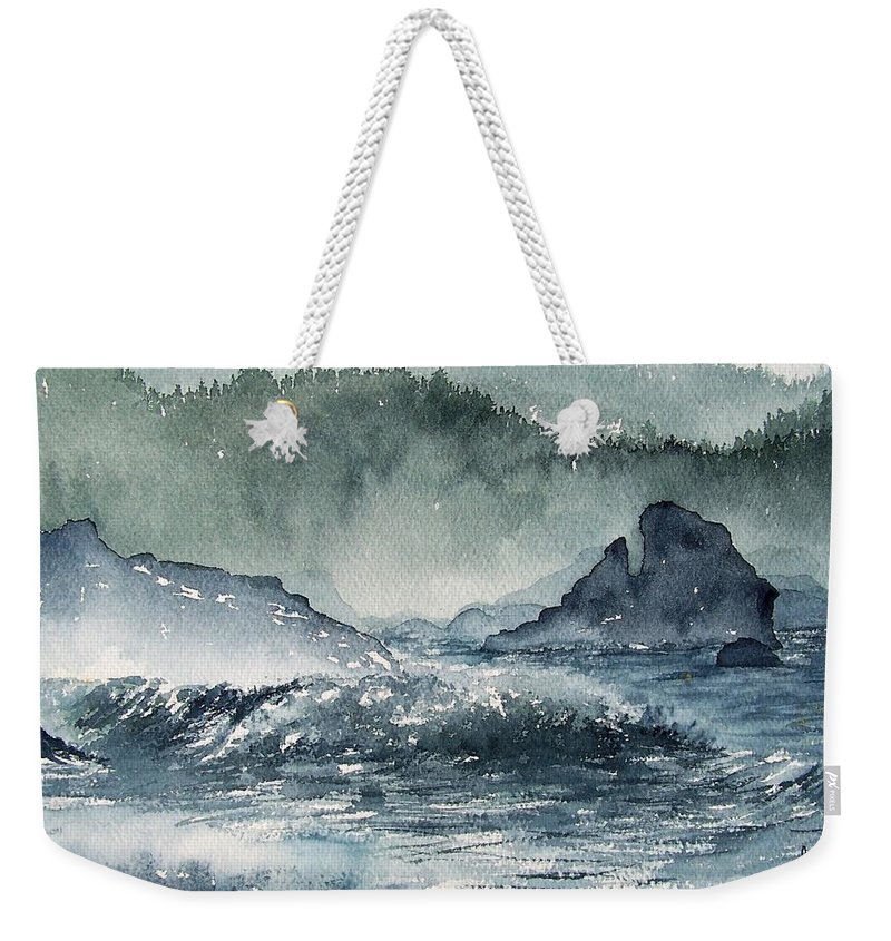Ocean Weekender Tote Bag featuring the painting Northern California Coast by Gale Cochran-Smith