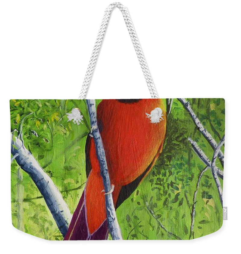Cardinal Weekender Tote Bag featuring the painting Northern Cardinal 1 by Alicia Fowler