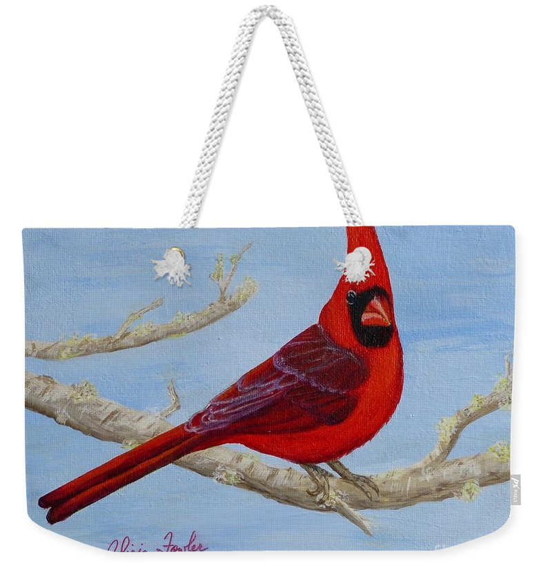 Northern Cardinal Weekender Tote Bag featuring the painting Northern Cardinal 2 by Alicia Fowler