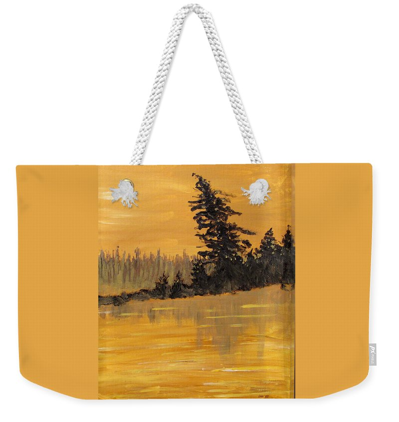 Northern Ontario Weekender Tote Bag featuring the painting Northern Ontario Three by Ian MacDonald