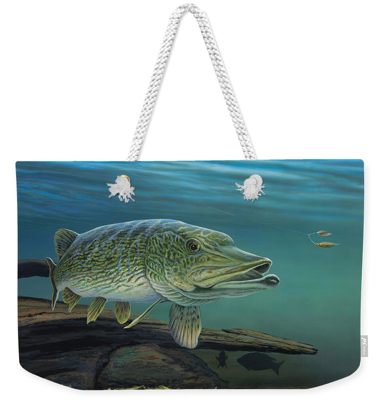 Northern Weekender Tote Bag featuring the painting Northern Pike by Anthony J Padgett