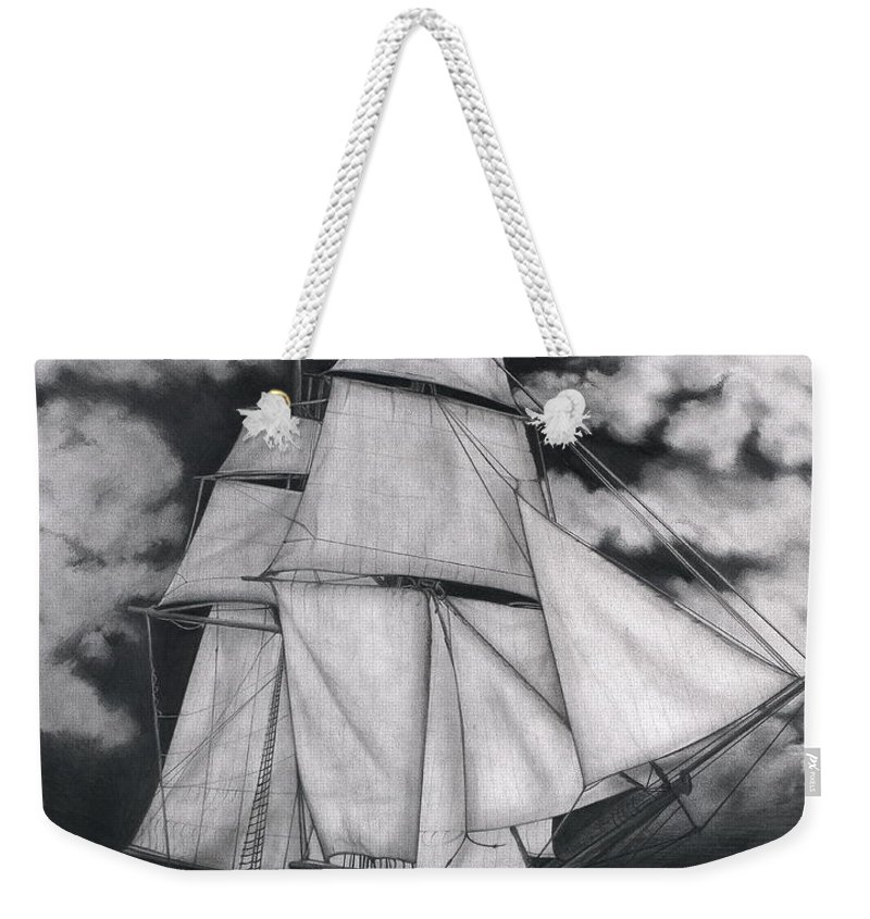 Ship Sailing Into The Northern Winds Weekender Tote Bag featuring the drawing Northern Winds by Larry Lehman