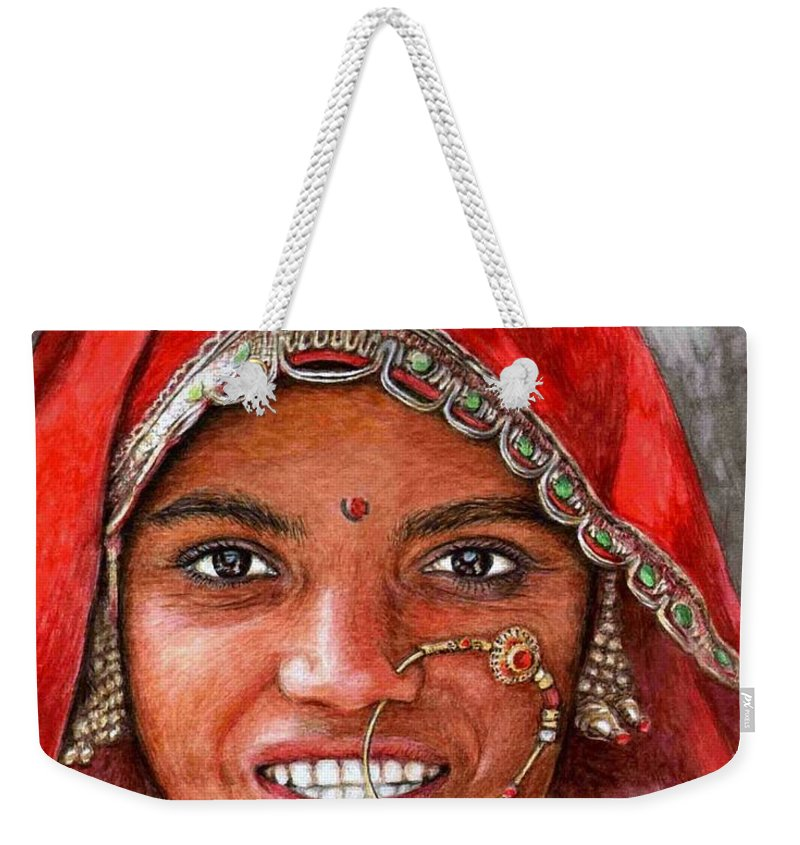 Woma Weekender Tote Bag featuring the painting Northindian Woman by Nicole Zeug