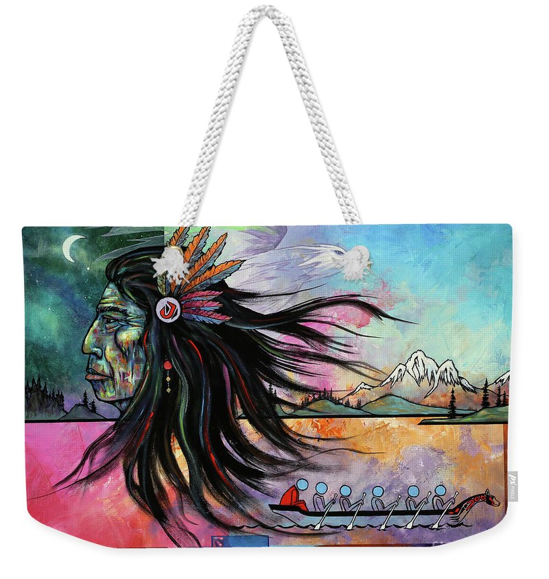 Mystic Weekender Tote Bag featuring the painting Northwest Vision by Paul Henderson