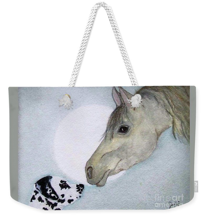 Dog Weekender Tote Bag featuring the painting Nose 2 Nose by Jacki McGovern