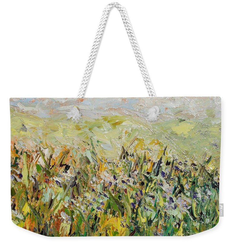 Field Paintings Weekender Tote Bag featuring the painting Nose Hill by Seon-Jeong Kim
