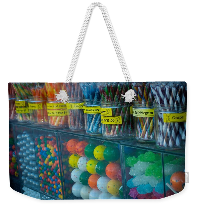 Candy Weekender Tote Bag featuring the photograph Nose Pressed Against The Glass by Lisa Knechtel