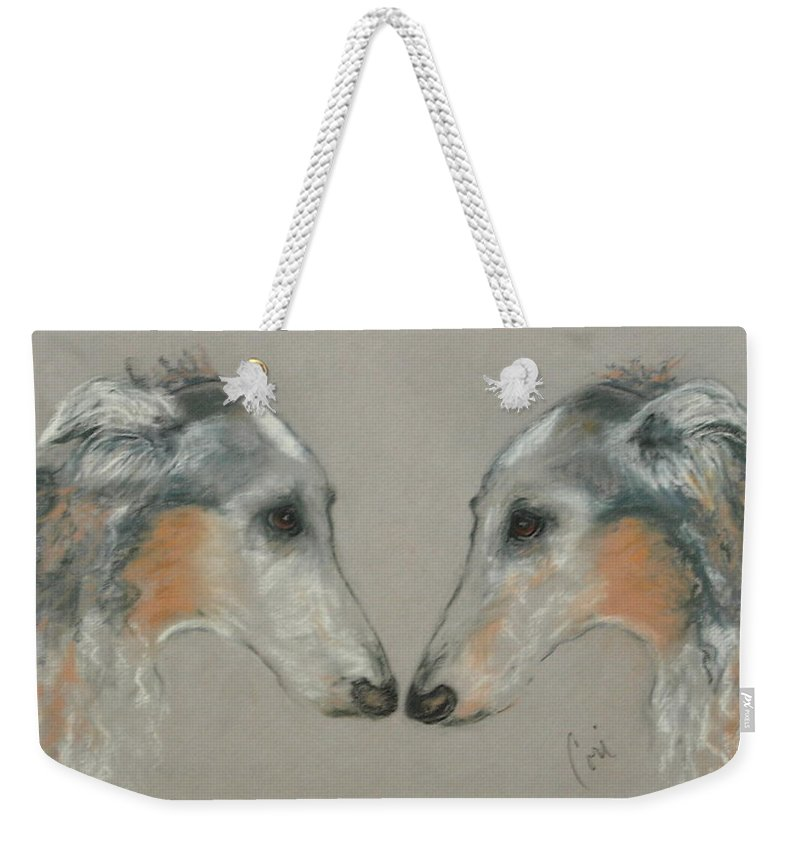 Dog Weekender Tote Bag featuring the drawing Nose To Nose by Cori Solomon