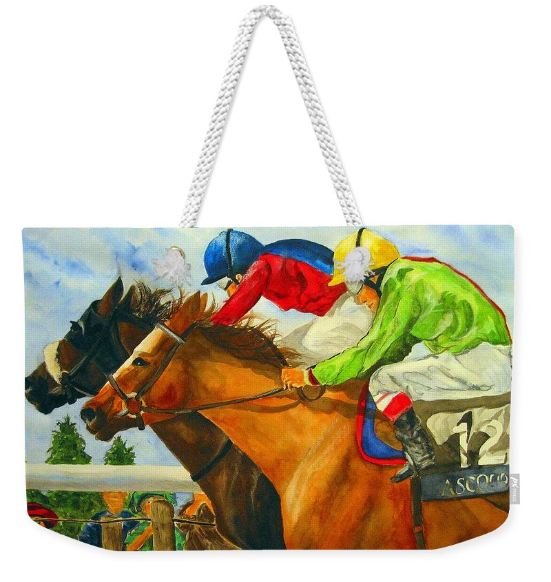 Horse Weekender Tote Bag featuring the painting Nose to Nose by Jean Blackmer