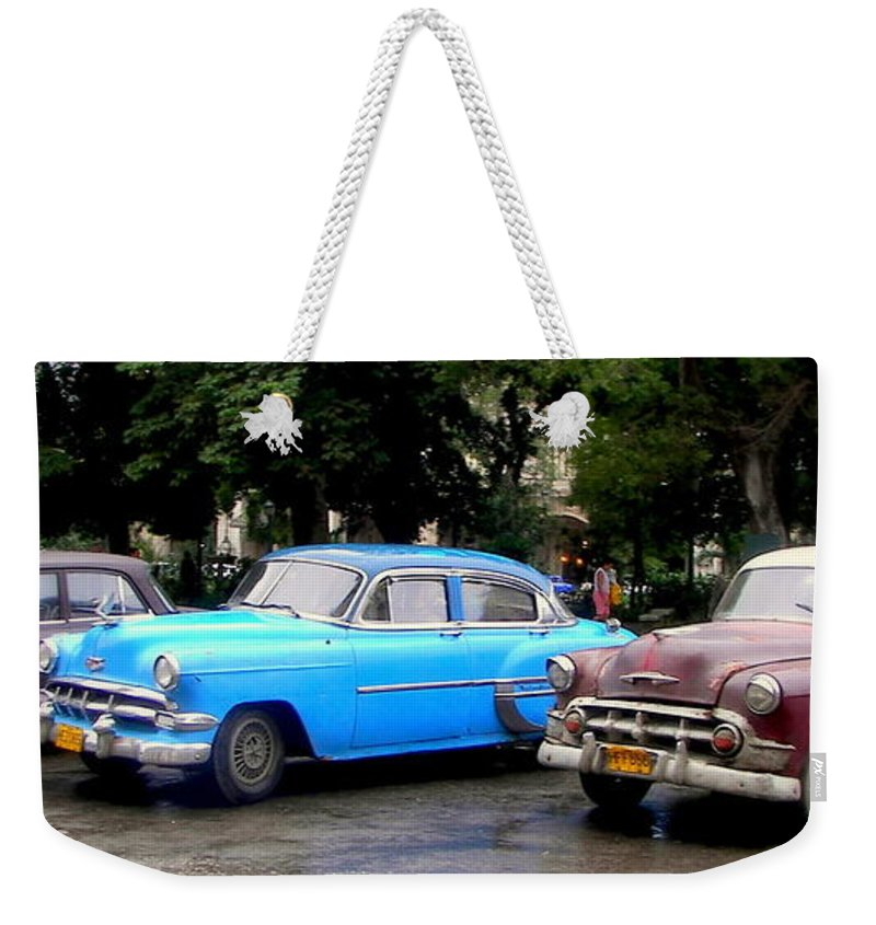Cuba Weekender Tote Bag featuring the photograph Nostalgia by Karen Wiles