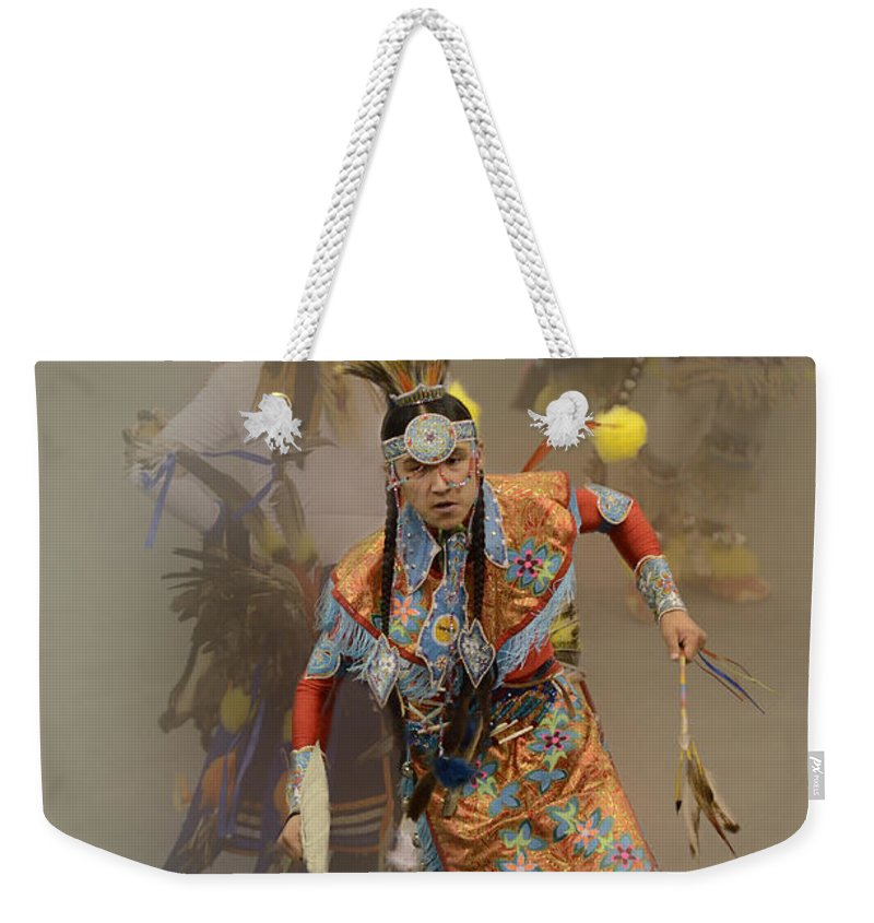 Pow Wow Weekender Tote Bag featuring the photograph Pow Wow Not Alone by Bob Christopher