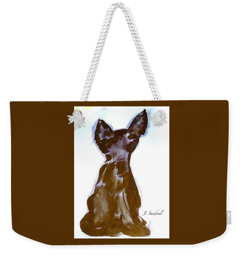 Not Picasso's Cat Was Created With The Use Of Acrylic On Untreated Canvas Weekender Tote Bag featuring the painting Not Picasso's Cat by Jeannine Sandoval