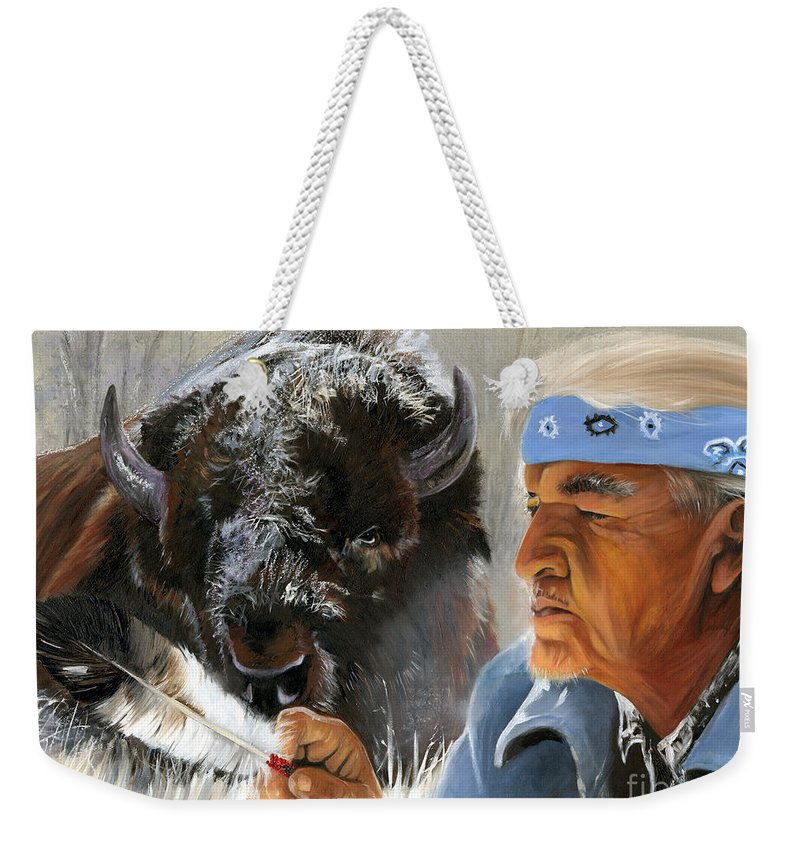 Southwest Art Weekender Tote Bag featuring the painting Nothing Is Ever Forgotten by J W Baker