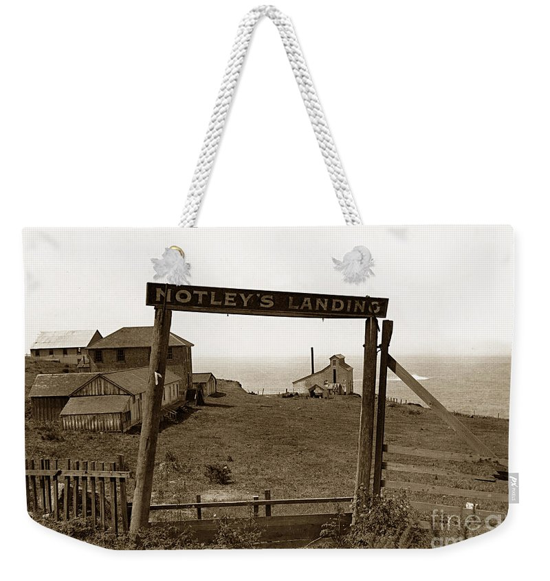 Notleys Landing Weekender Tote Bag featuring the photograph Notleys Landing Big Sur Coast By L. S. Slevin May 1919 by California Views Mr Pat Hathaway Archives